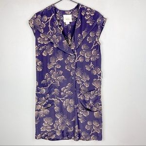 Maeve Anthropologie Printed Silk Wrap Dress Plum 0
